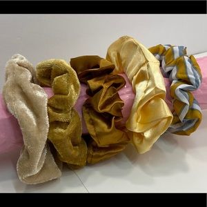 Scrunchies set of 5 shades of copper/gold